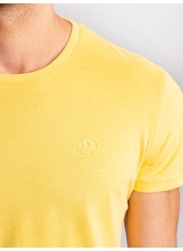 Dufy Mınt Yeşılı Pamuklu Fırçalı Süprem Erkek T-Shırt - Slım Fıt Sarı